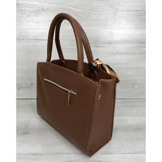 Классическая женская сумка рыжего цвета