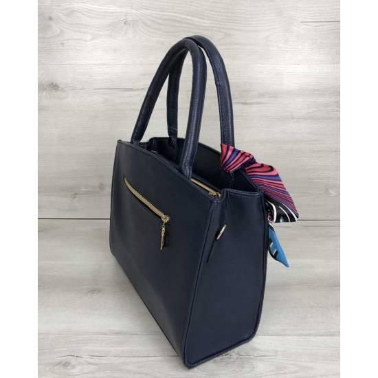 Классическая женская сумка синего цвета со вставкой