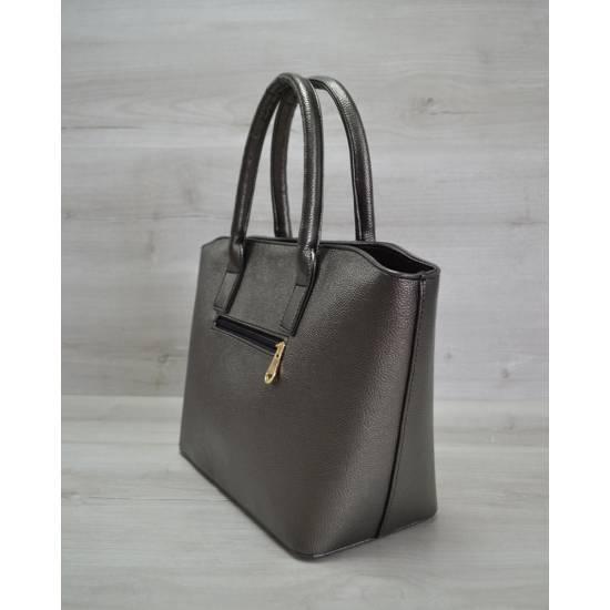 Модная сумочка темно-серого цвета с принтом
