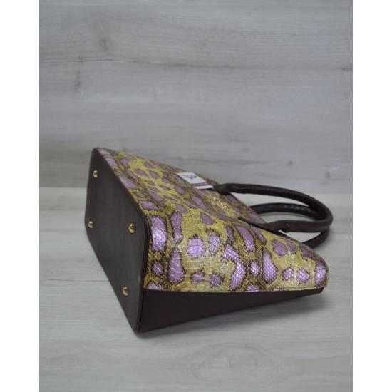 Стильная женская сумочка коричнево-желтого цвета с узорами
