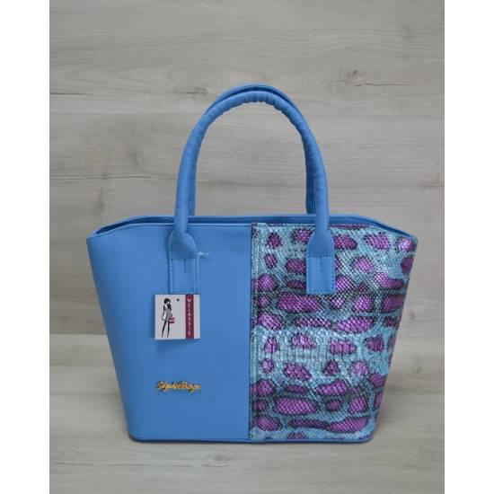 Стильная сумочка сине-малинового цвета с узором