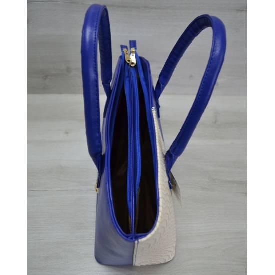 Стильная сумочка бело-синего цвета