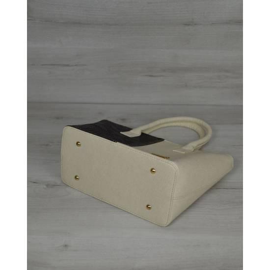 Классическая женская сумка молочно-черного цвета