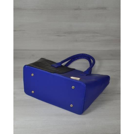 Классическая стильная сумка черно-синего цвета