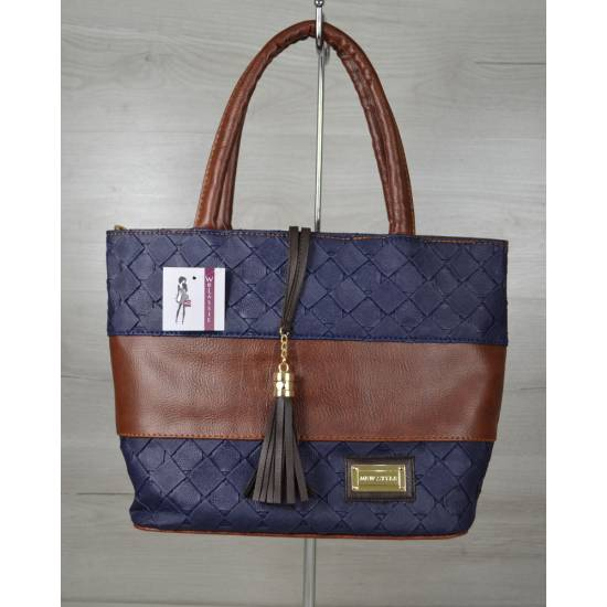Комбинированная синяя сумка с кисточкой коричневого цвета