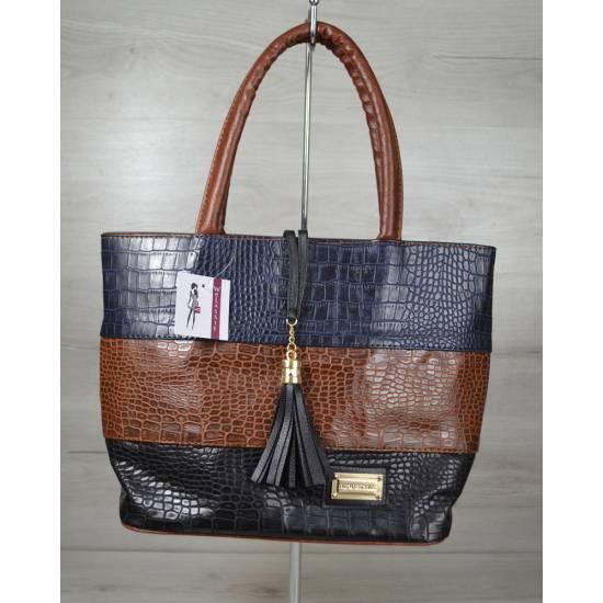 Комбинированная сумка коричневого цвета
