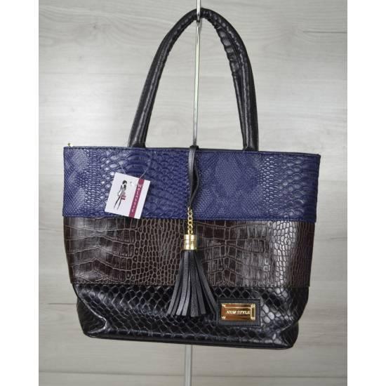 Комбинированная сумка черно-синего цвета