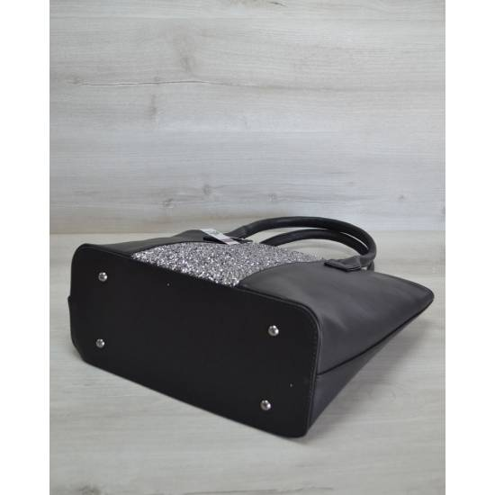 Стильная сумочка черного цвета с блестками