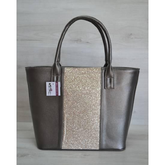 Стильная сумка графитового цвета с блестками