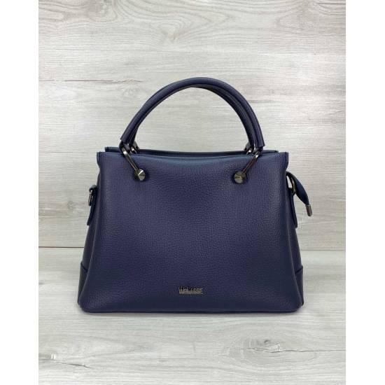 Синяя сумка из экокожи