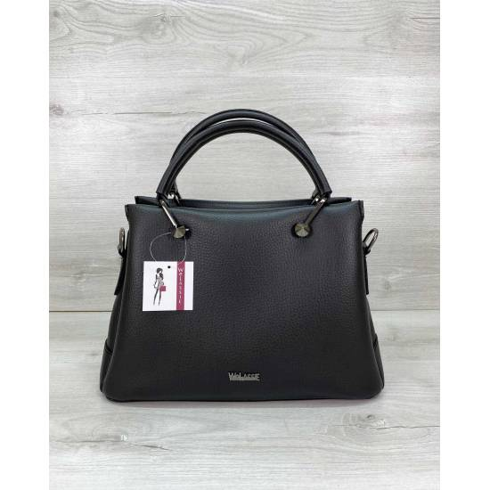 Черная сумка из экокожи