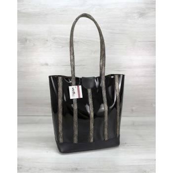 Черная сумка из силикона с косметичкой золотистого цвета