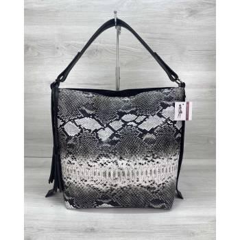 Черно-белая сумка из экокожи