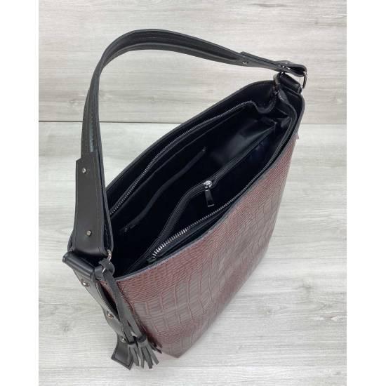 Бордовая сумка из экокожи