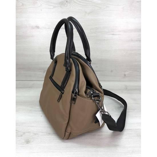 Тканевая модная сумочка кофейного цвета