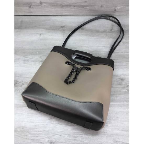 Бежевая сумочка с косметичкой