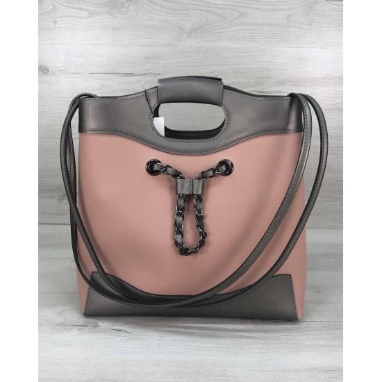 Бежево-серая сумочка с косметичкой