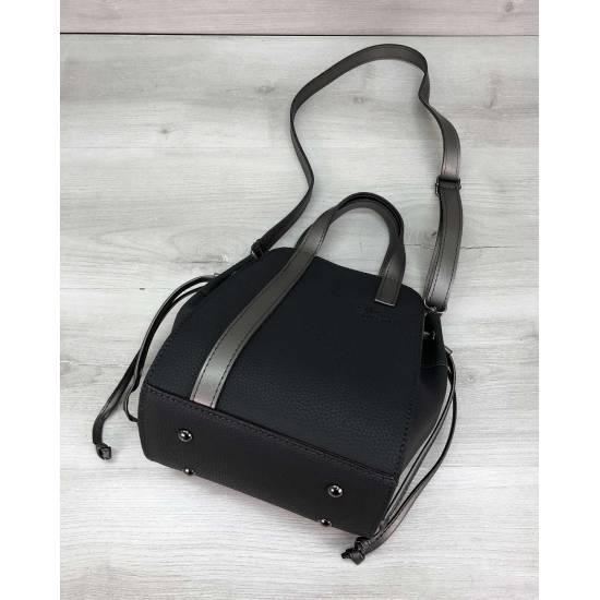 Графитовая сумочка с косметичкой из экокожи