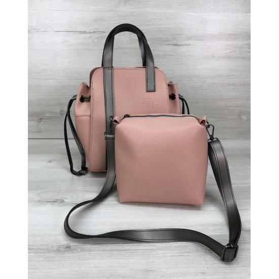 Бежевая сумка с косметичкой из экокожи