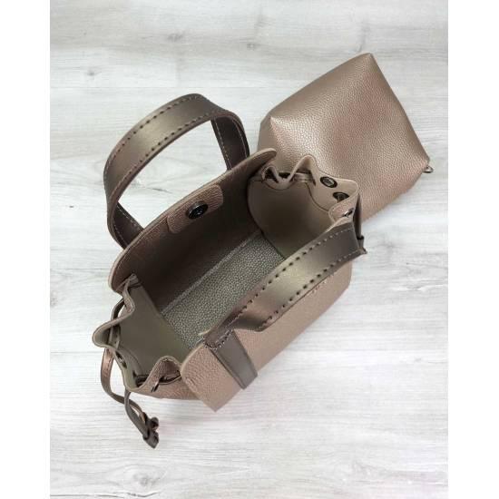 Золотистая сумочка с косметичкой из экокожи