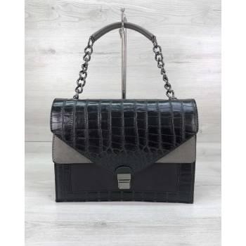 Черная сумочка из кожзама