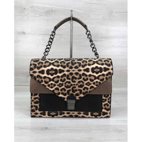 Женская сумочка леопардовой расцветки из кожзама