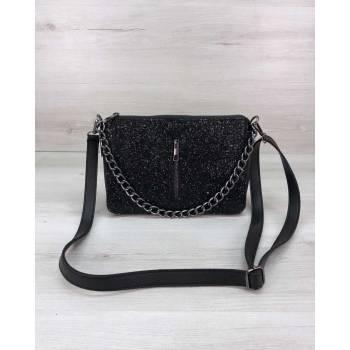 Стильная сумка-клатч черного цвета со вставкой