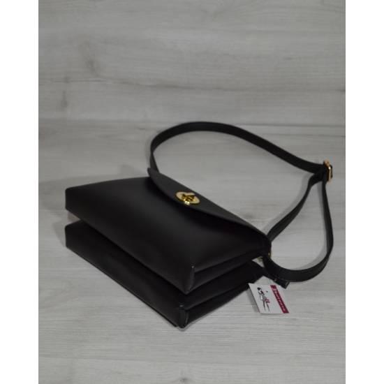 Женская сумка-клатч черного цвета на два отделения