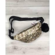 Женская сумка бананка золотистого цвета с пушком