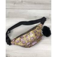 Женская сумка бананка золотисто-сиреневого цвета с пушком
