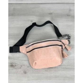 Стильная сумочка пудрового цвета на пояс