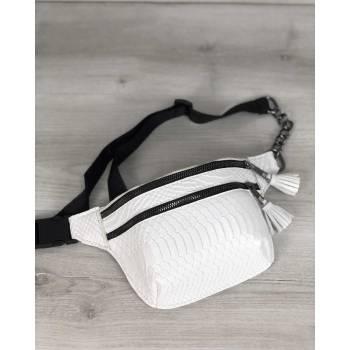 Стильная сумочка белого цвета на пояс