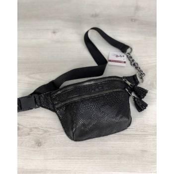 Стильная сумочка черного цвета на пояс