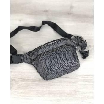 Стильная сумочка серого цвета на пояс