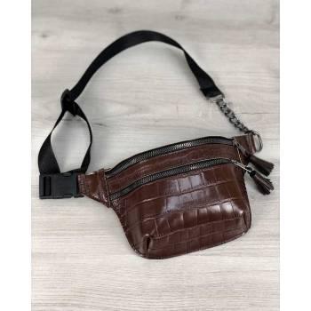 Стильная сумочка коричневого цвета на пояс