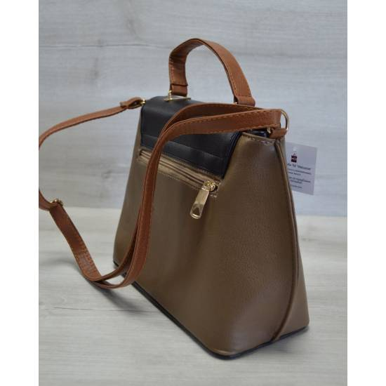 Молодежная женская сумка-клатч кофейного цвета