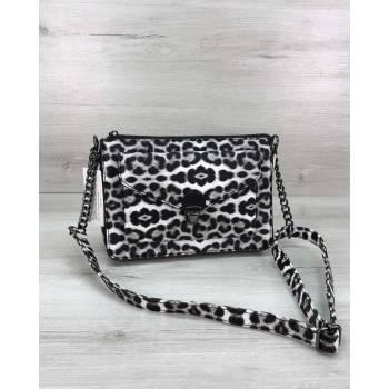 Черно-белая сумка леопардовой расцветки