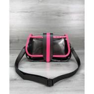 Женская силиконовая сумка с косметичкой малинового цвета