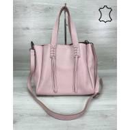 Кожаная женская сумка шоппер розового цвета