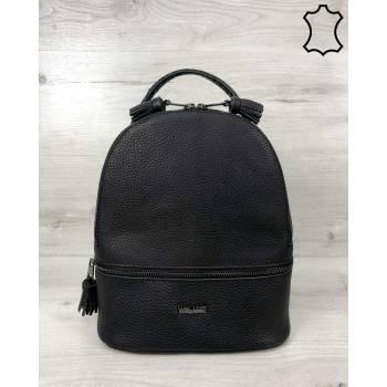 Кожаная сумка-рюкзак черного цвета