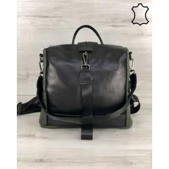Кожаная сумка-рюкзак черно-оливкового цвета