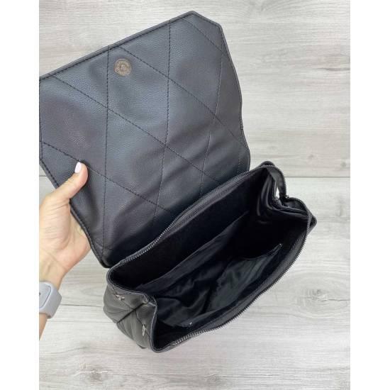 Стеганый сумка-рюкзак черного цвета