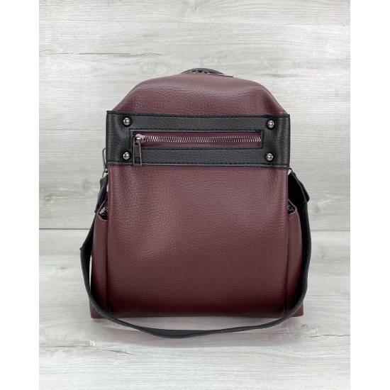 Сумка-рюкзак темно-бордового цвета