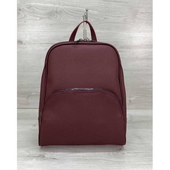 Стильный рюкзак бордового цвета из кожзама