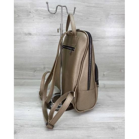 Женский рюкзак золотистого цвета из кожзама