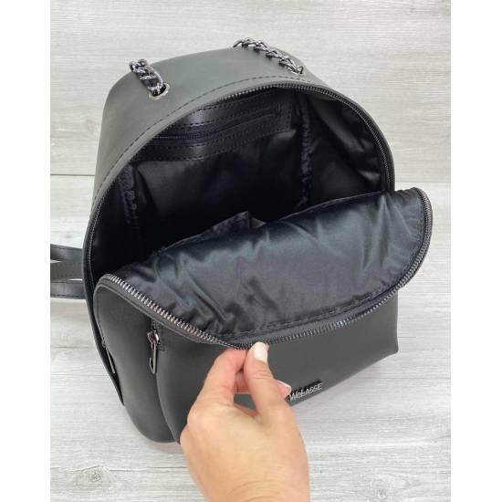 Модный рюкзак черного цвета из экокожи