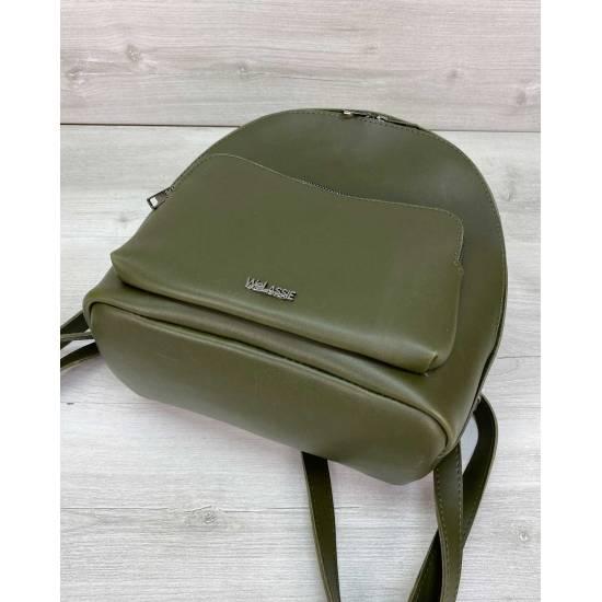 Оливковый рюкзак из экокожи