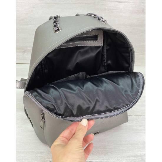 Модный рюкзак из экокожи цвета металлик