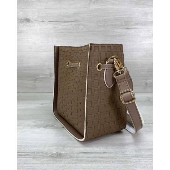Cумка кофейного цвета с передним карманом