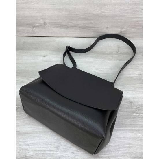 Женская сумка черного цвета из экокожи